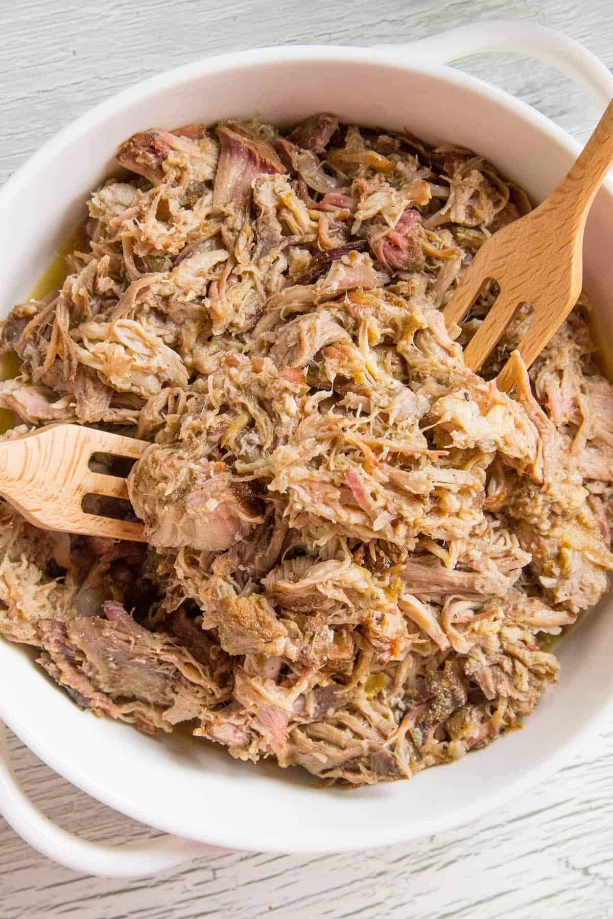 Juicy, smoked pulled pork in a bowl, ready for you to eat