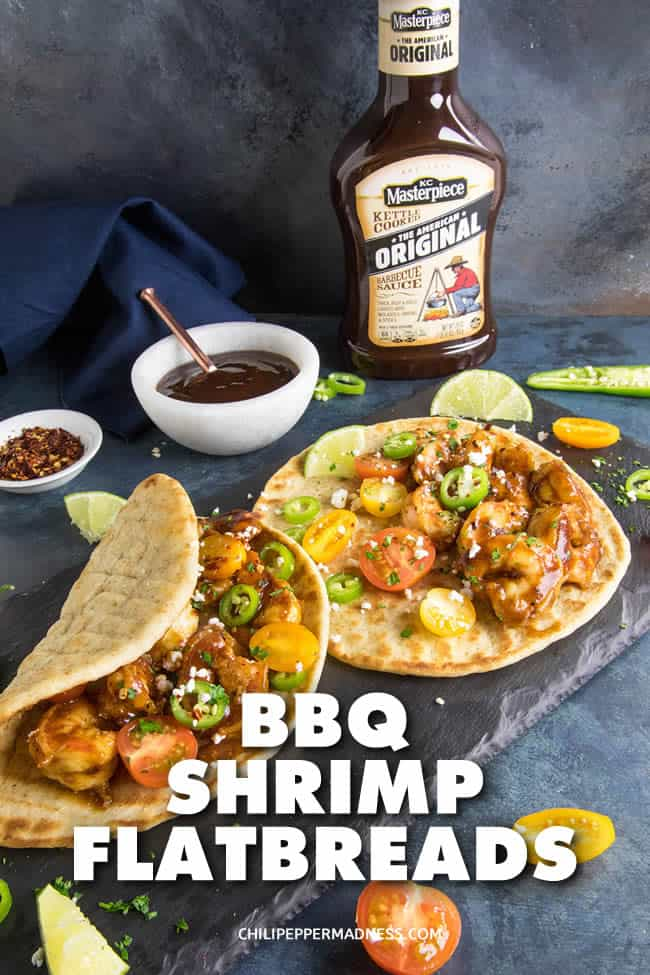 Barbecue Shrimp Flatbreads - These Barbecue Shrimp Flatbreads are flavorful, succulent, and on the table in only 10 minutes. A perfect easy weekday lunch or dinner. Here is the recipe. #Flatbread #Sandwich #shrimp #dinner #EasyMeals #BBQ