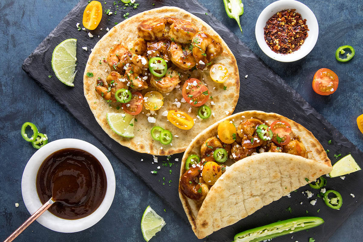 BBQ Shrimp Flatbreads - Plated just for you