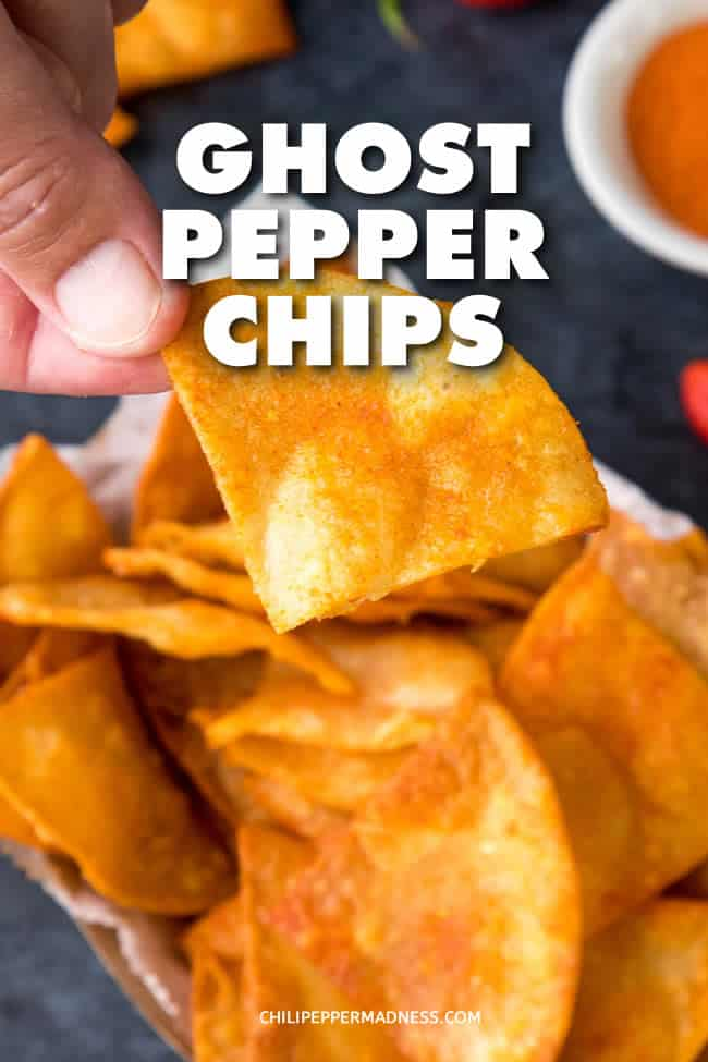 Ghost Pepper Chips - Make your own extra spicy ghost pepper chips at home with this recipe. Homemade spicy tortilla chips are hotter than anything you'll get in the store. #GhostPeppers #SpicySnack #SpicyChips #Snack
