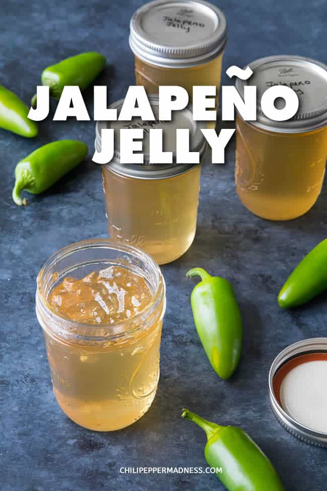 Jalapeno Jelly - A simple, easy-to-make recipe for jalapeno jelly with sugar, pectin, and fresh jalapeno peppers. Perfect for morning toast but also as a starter glaze or sauce. #JalapenoPeppers #Jalapenos #Jelly #JalapenoJelly
