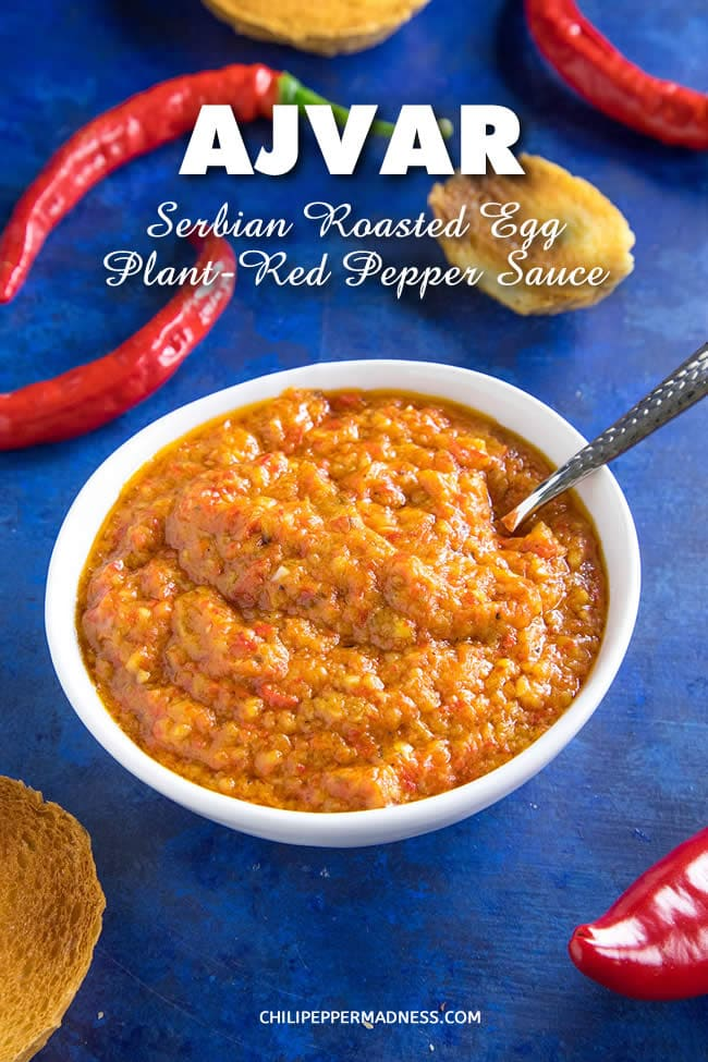 Ajvar Recipe - Ajvar is a versatile Serbian roasted red pepper and eggplant sauce or spread. It is rich and flavorful and can be used in so many ways, as a condiment, sauce or relish. Here is the recipe. #Serbian #Sauce