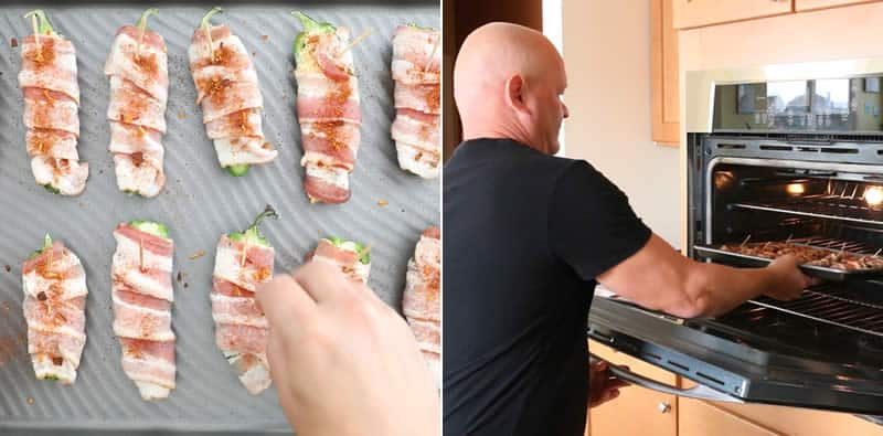 Seasoning the jalapeno poppers and setting them into the oven