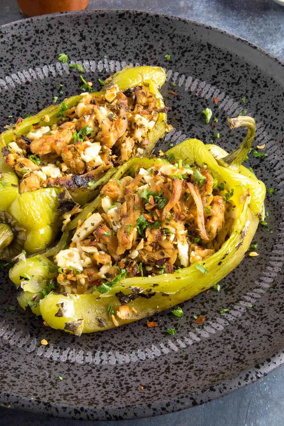 Chicken and Cheese Stuffed Anaheim Peppers - On a plate