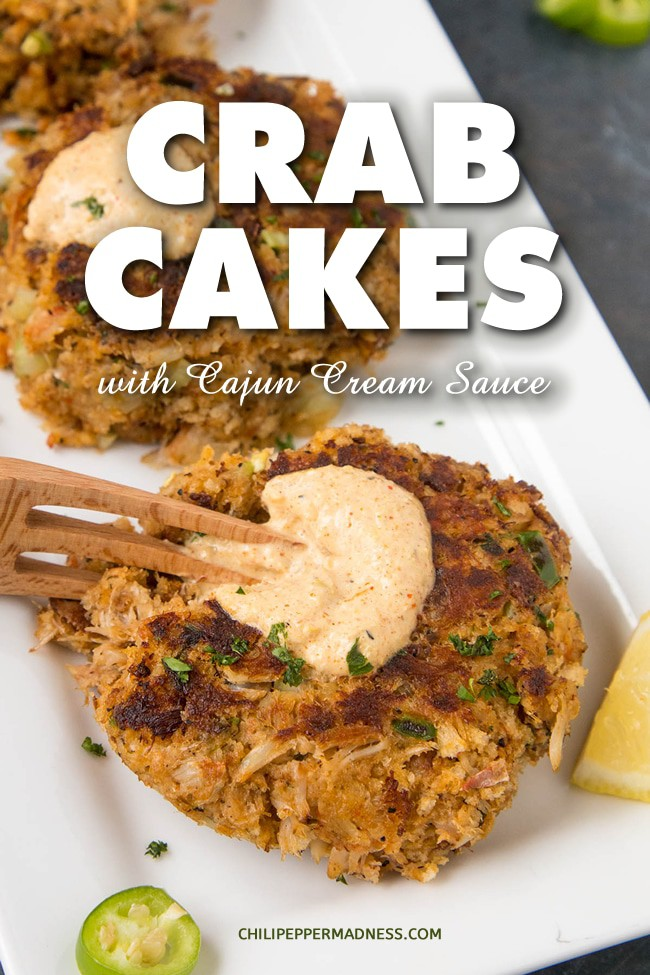 Crab Cakes with Creamy Cajun Sauce - My favorite crab cake recipe for tender, fluffy crab cakes made with loads of crab meat, spiced with a blend of Cajun seasonings, then drizzled with a flavorful creamy Cajun sauce. Try this for a great dinner option. #CrabCakes #Seafood