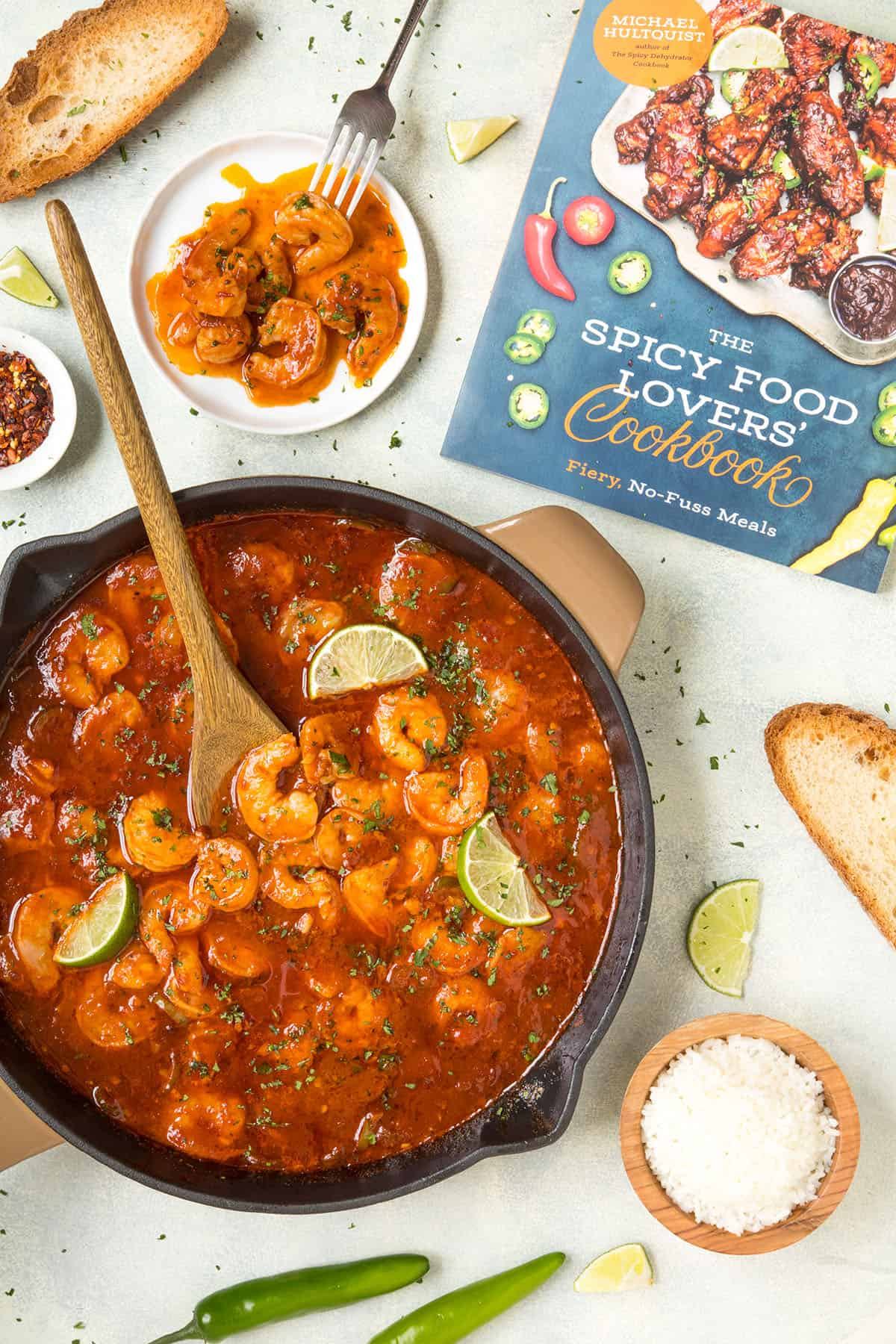Shrimp in Fiery Chipotle-Tequila Sauce, next to my cookbook that includes the recipe