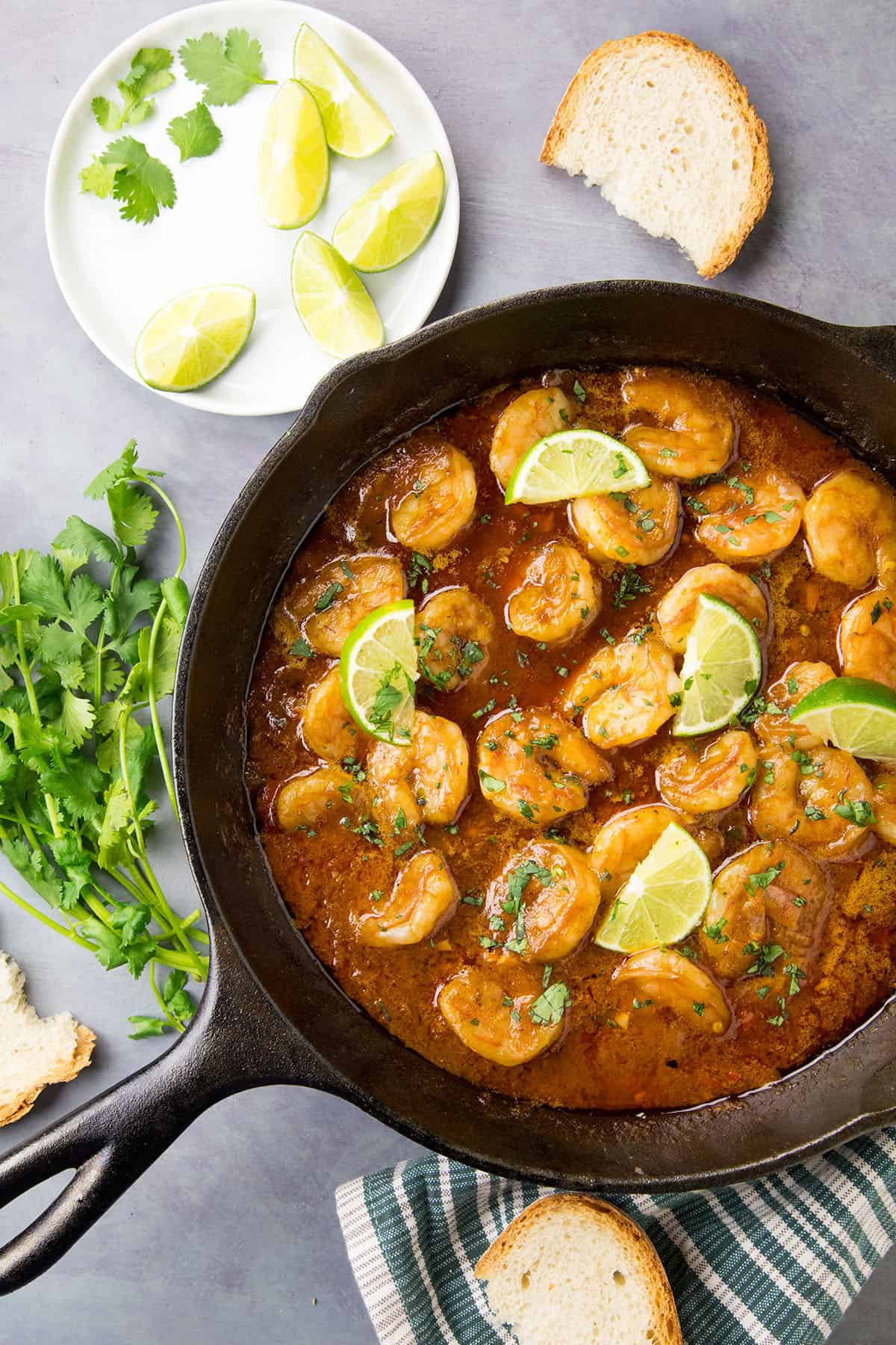 Shrimp in Fiery Chipotle-Tequila Sauce - In a pan, ready to serve