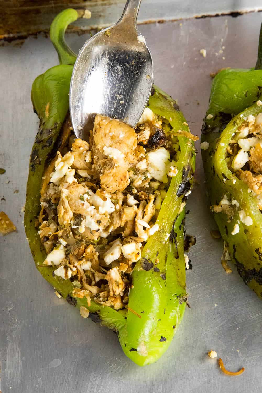 Stuffing the Anaheim peppers