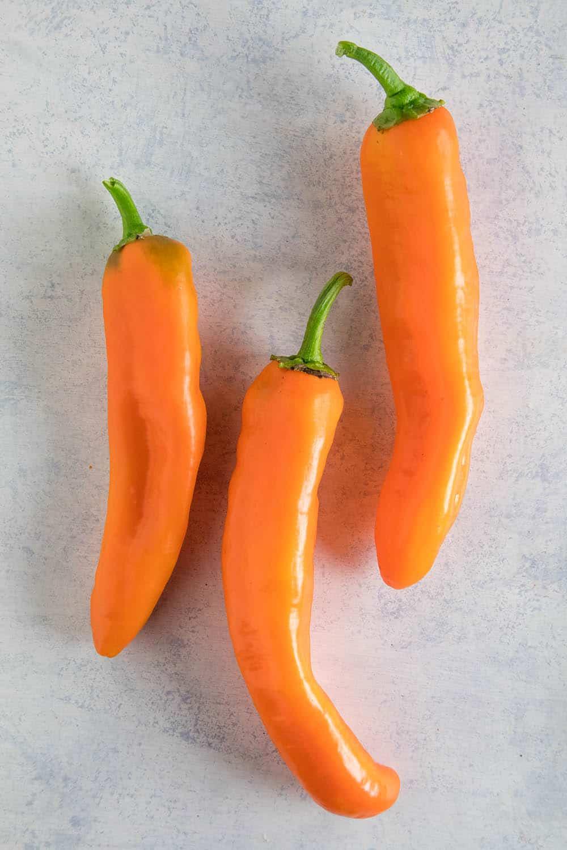 Corno di Toro Chili Peppers - Orange Variety