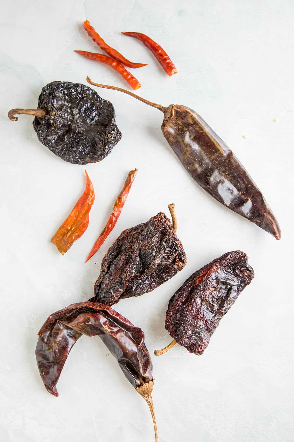 Dried chili pepper pods for making Homemade Chili Powder