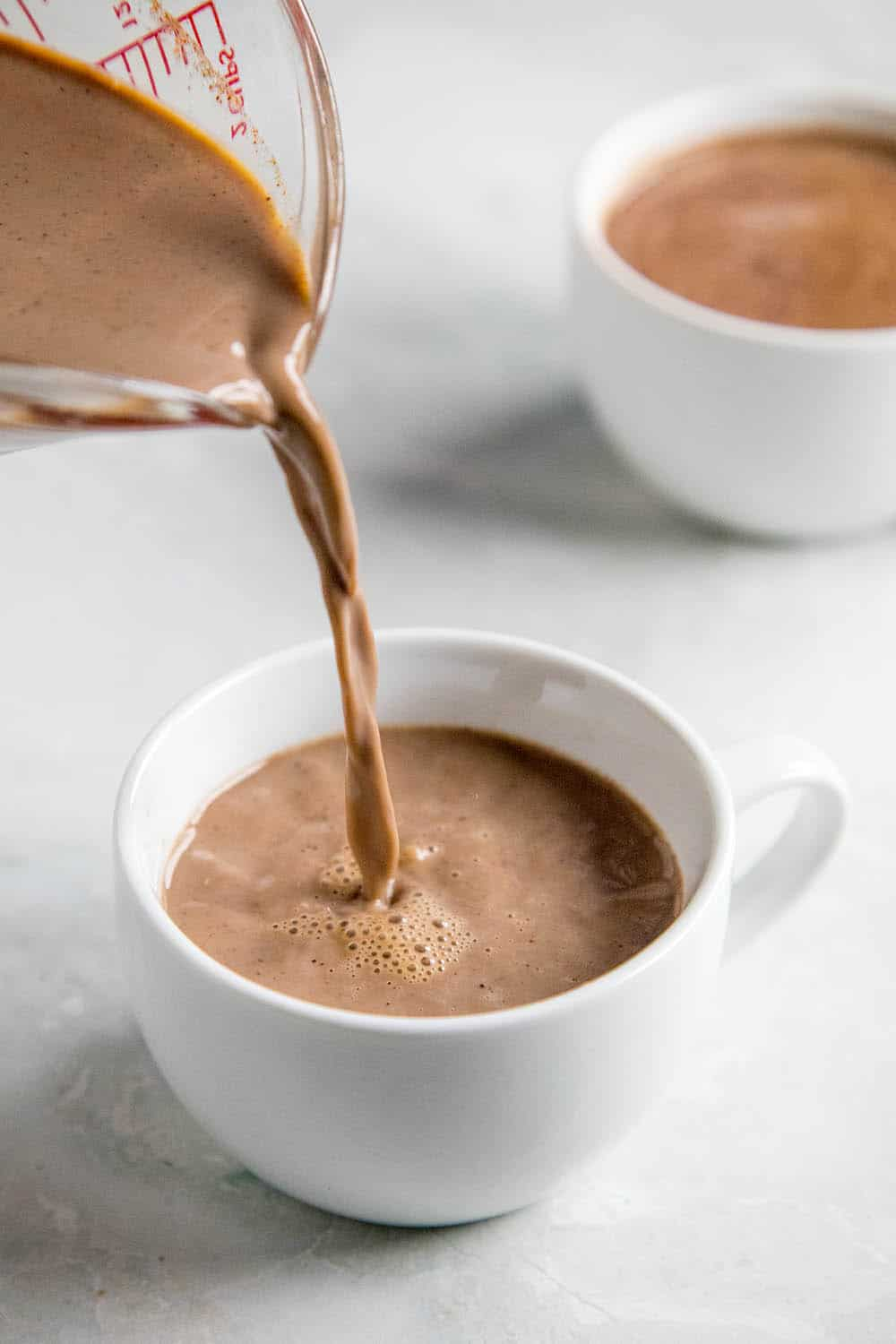 Pouring a cup of Mexican Hot Chocolate