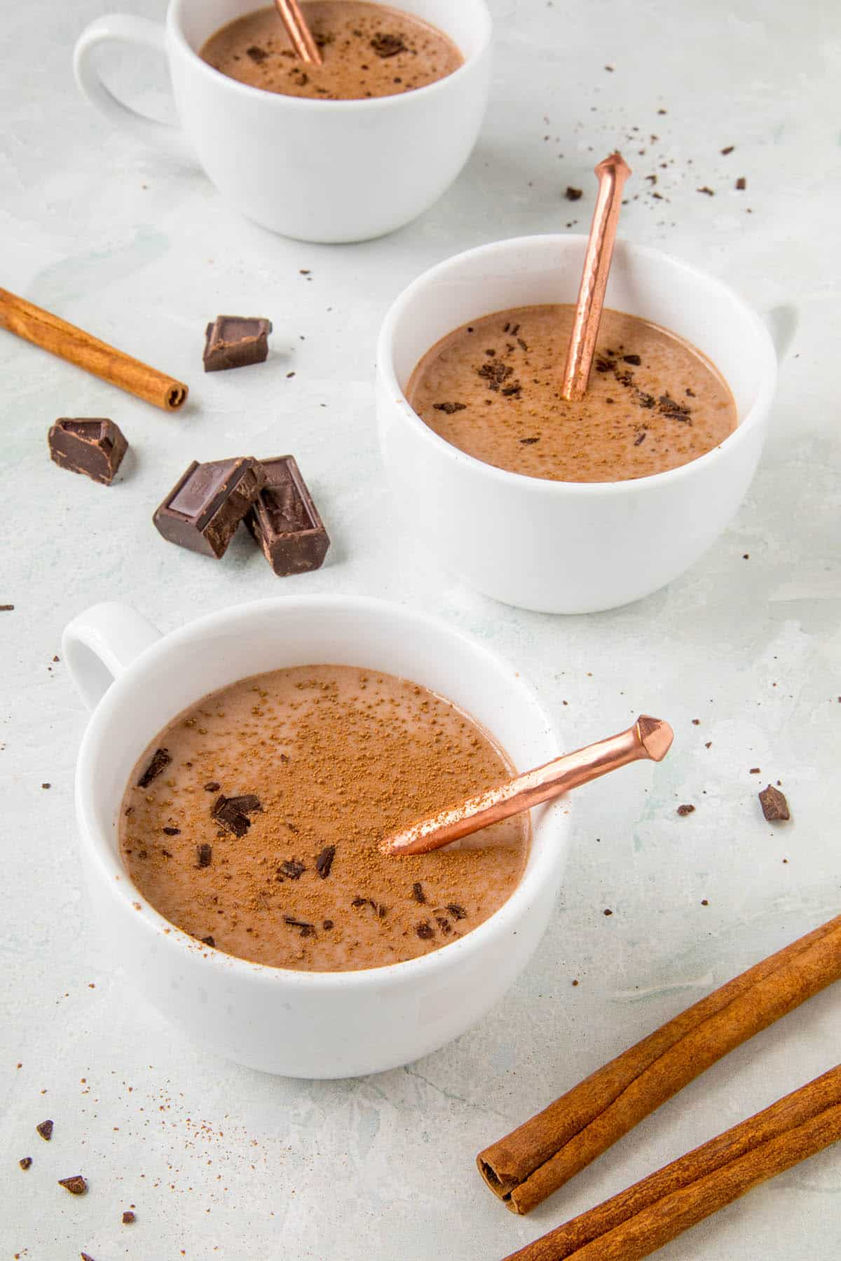 Mexican Hot Chocolate in a cup, ready to serve
