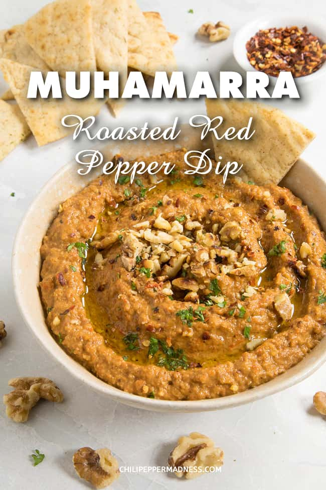 Muhammara (Roasted Red Pepper & Walnut Dip) - This Muhammara recipe is made with roasted red peppers, lightly toasted walnuts and the sweetness of pomegranate. It is creamy and delicious and very easy to make, a big crowd pleaser. #Dip #Spread #Sauce