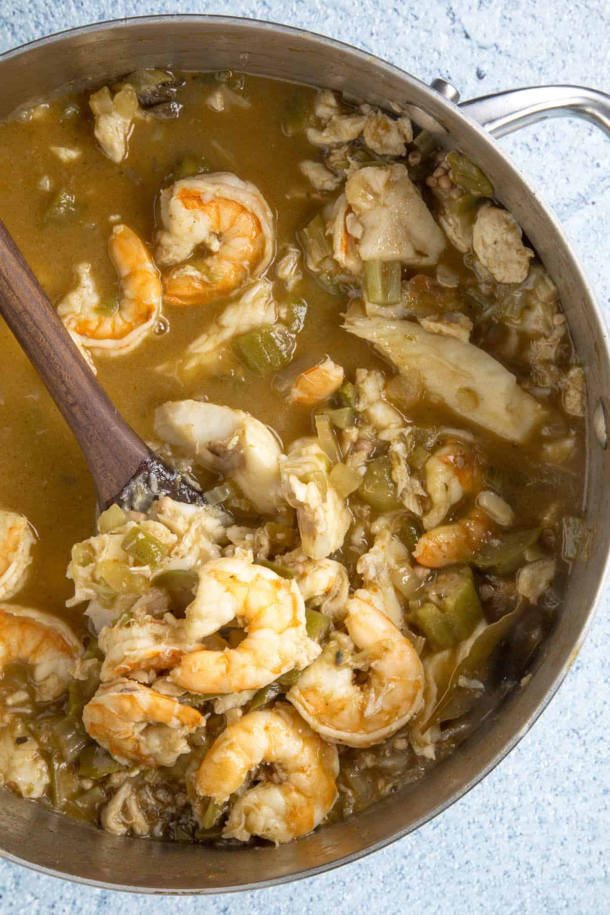 Seafood Gumbo in a pot, ready to serve