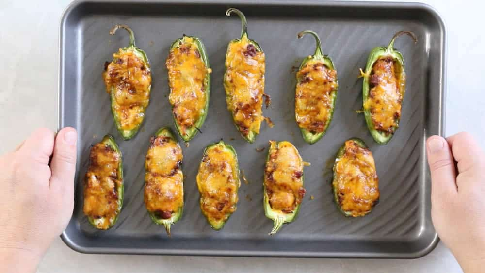 Pulled Pork-Sriracha Jalapeno Poppers - On a baking sheet, fresh out of the oven