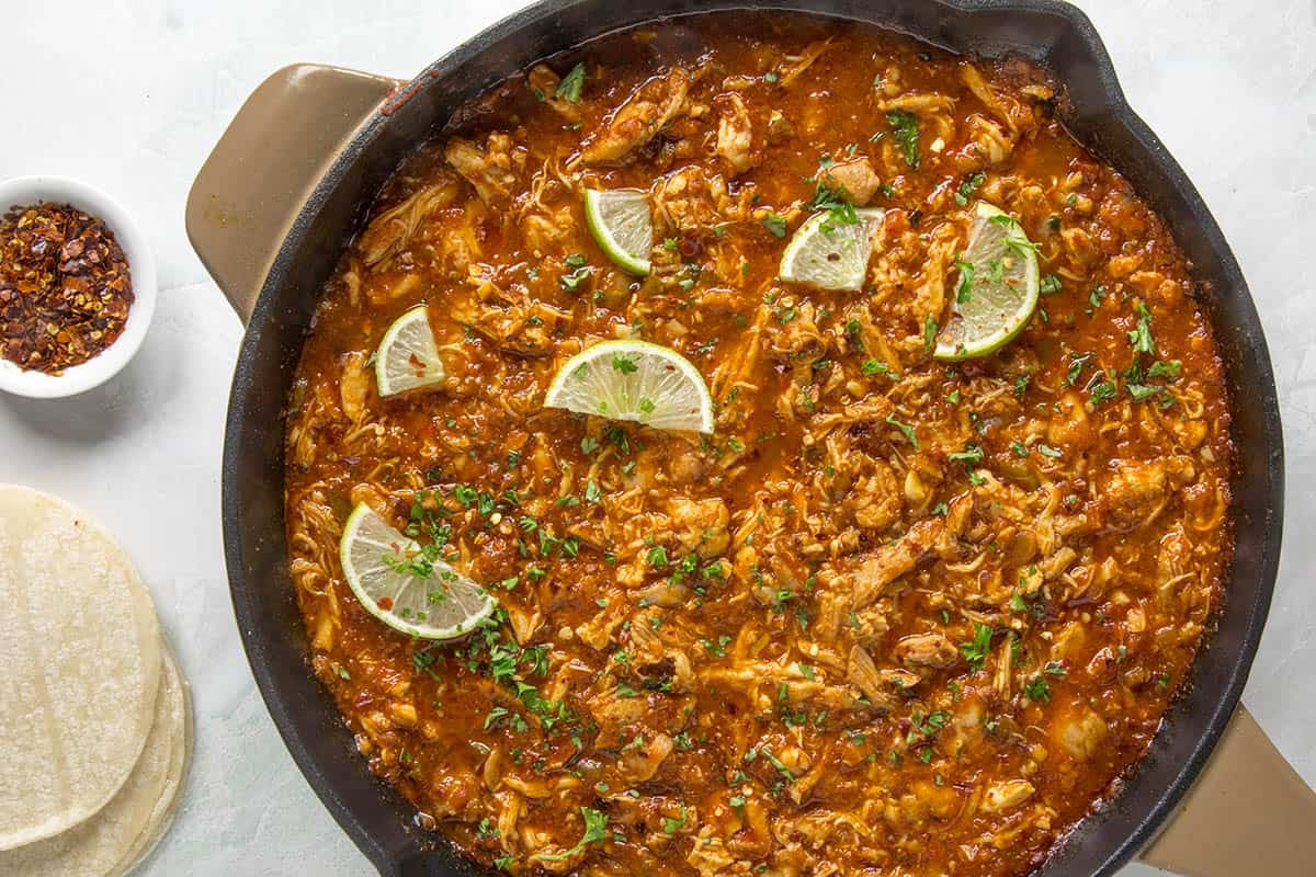 Chicken Tinga in a pan, ready to serve