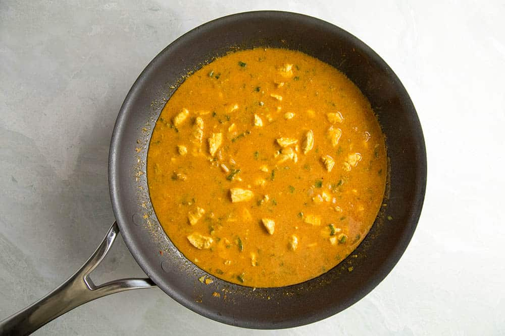 Letting the Ghost Pepper Chicken Curry simmer in a pan
