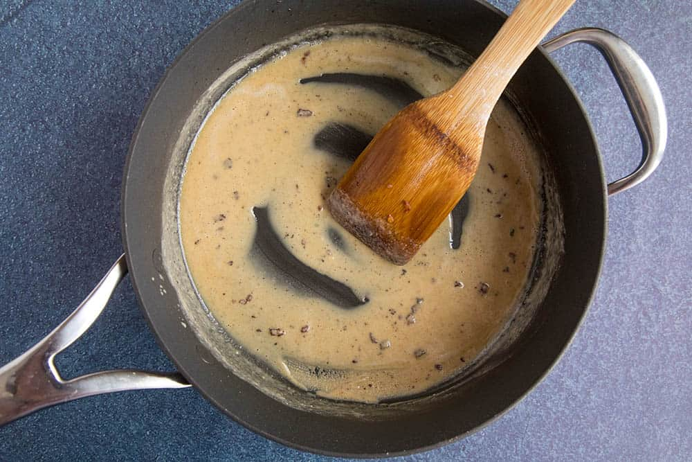 Making the roux in a pan