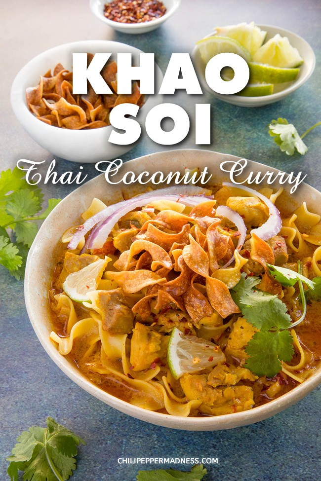 Khao Soi (Northern Thai Coconut Curry Soup) - Khao Soi is a popular northern Thai curry recipe made with egg noodles cooked in coconut milk and an intensely flavorful curry paste of toasted chilies, ginger, cilantro, garlic, and more. #ThaiFood #CoconutCurry #Spicy