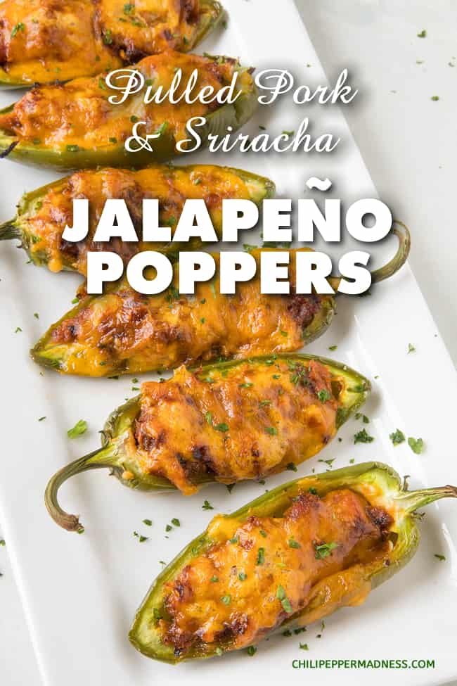 Pulled Pork-Sriracha Jalapeno Poppers - A recipe for jalapeno poppers stuffed with seasoned pulled pork, cheese and lots of spicy sriracha. Poppers are the perfect party appetizer. #Appetizers #PartyFood #Poppers