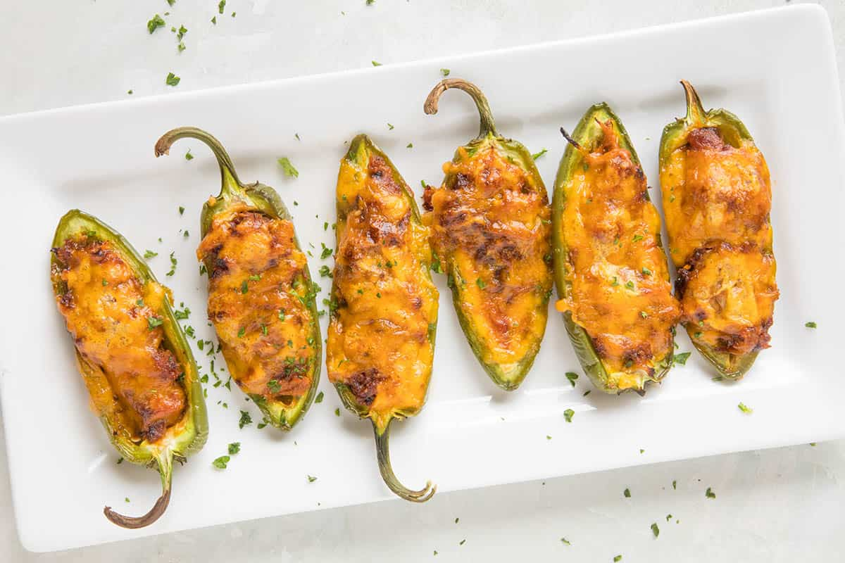 Pulled Pork-Sriracha Jalapeno Poppers - On a plate, ready to serve