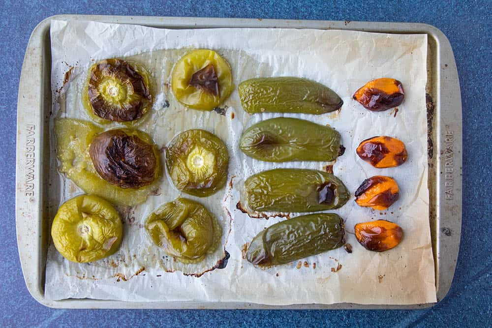Roasted tomatillos, jalapenos and habanero peppers