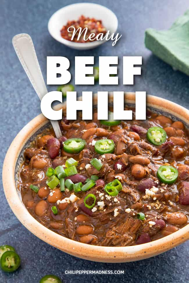 Beef Chili Recipe - A hearty beef chili recipe made with lots of beef chuck, flavorful spices, and a variety of chili peppers. When it comes to beef chili, this is the