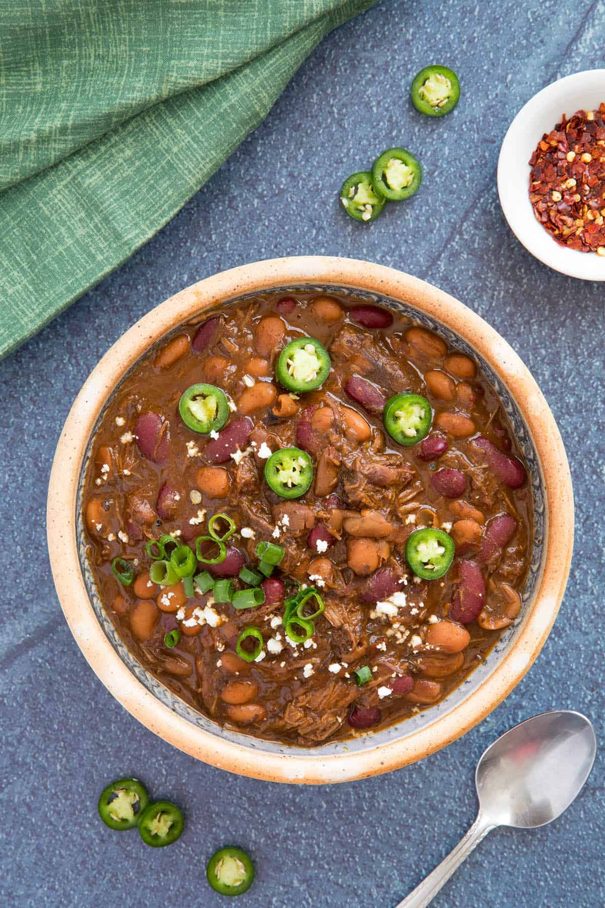Beef Chili in a bowl, ready to serve