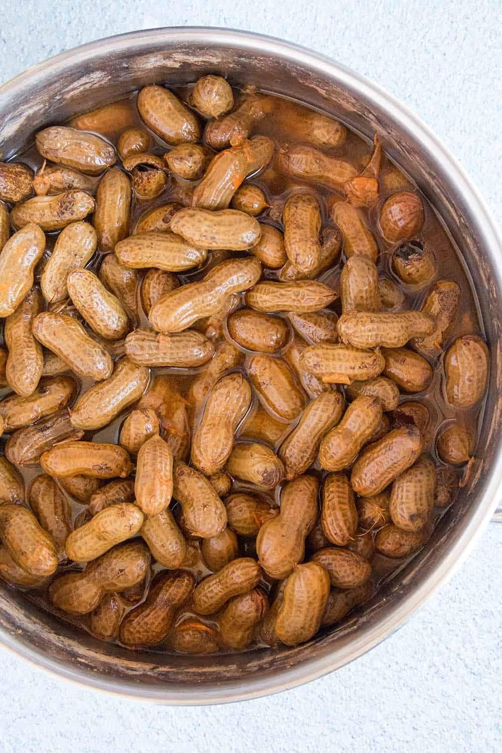 Cajun Boiled Peanuts in a pot