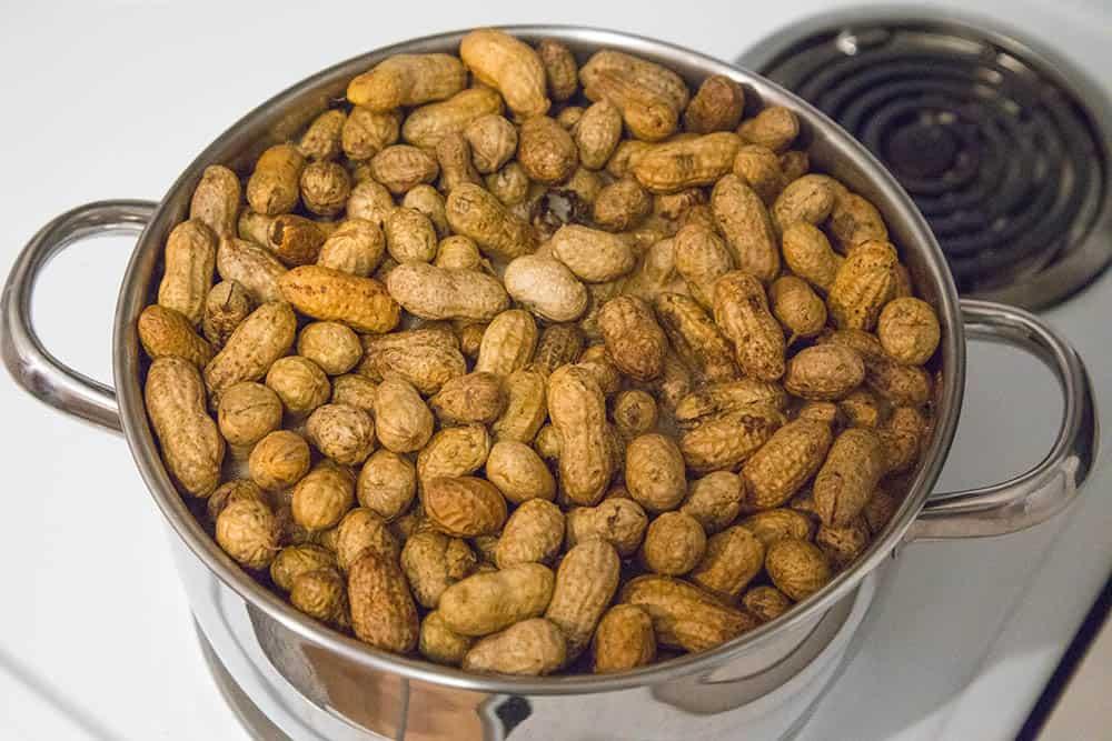 Cajun Boiled Peanuts boiling
