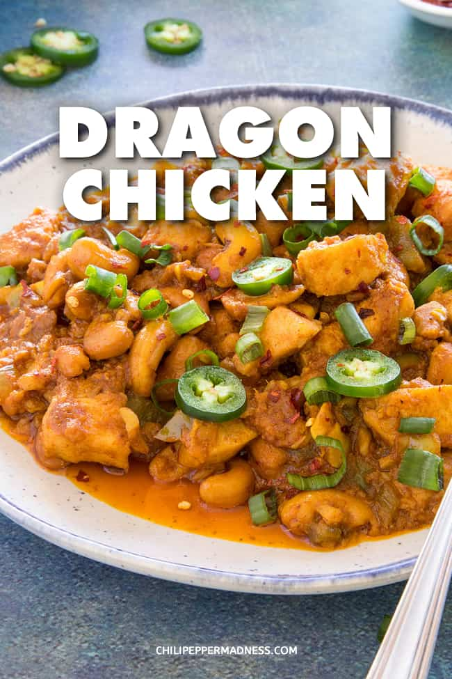Dragon Chicken - This Chinese dragon chicken recipe is spicy marinated chicken that is lightly fried then sauteed with cashew nuts and peppers, served alone or with rice. #ChineseFood #ChickenDinner