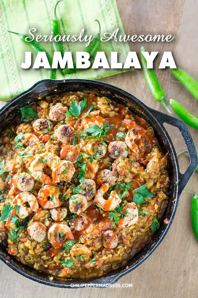 Seriously Awesome Jambalaya Recipe - My wonderful spicy Cajun jambalaya recipe in all its glory, with shrimp, andouille sausage, chicken, and plenty of spices. #CajunFood #Jambalaya #SpicyFood