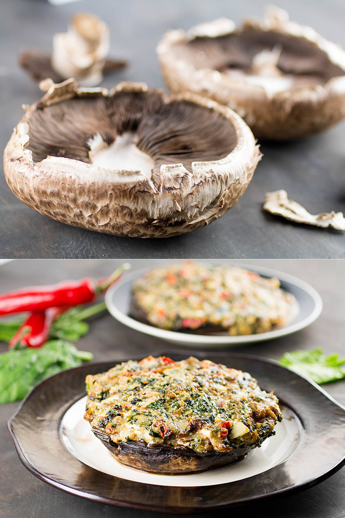Stuffed Portobello Mushrooms with Spinach and Cheese