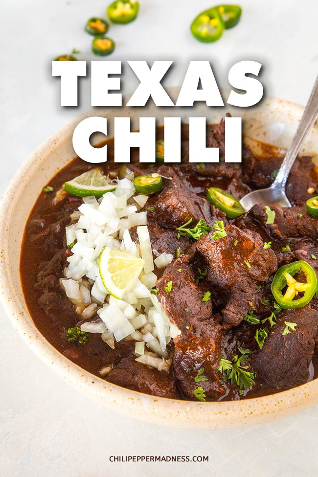 Texas Chili Recipe - This Texas chili recipe is authentic, meaty, just the right amount of spicy, and not a chili bean in sight. Learn how to make your own Texas chili. #ChiliRecipe #BowloRed #TexasChili