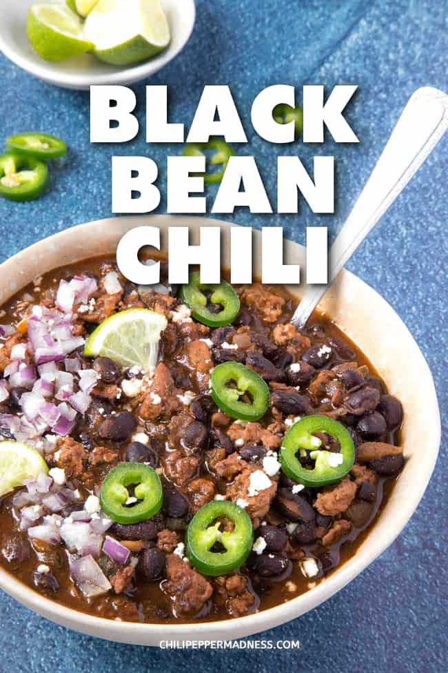 Easy Zesty Black Bean Chili - A comforting, easy black bean chili recipe with plenty of piquant spices. Just the right amount of heat. Chop, pour, simmer, done. One of my favorites. #EasyDinner #ChiliRecipe #BlackBeans