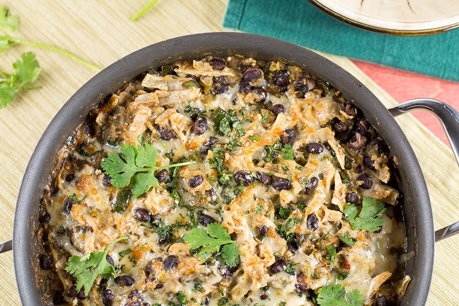 Chicken Enchilada Casserole Verde in a pan, ready to serve