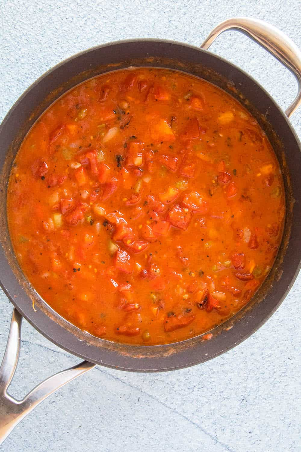 Creole Sauce simmering in a pan
