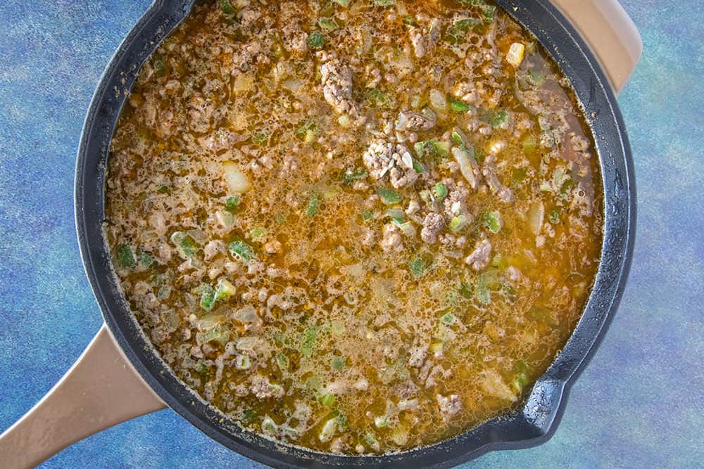 Dirty Rice simmering in a pan