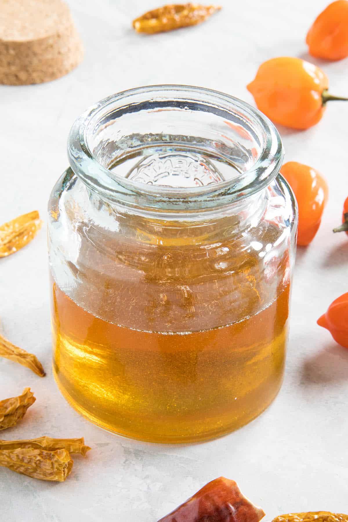 Hot Honey in a jar, ready to enjoy