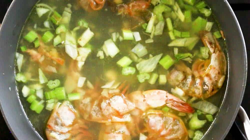 Simmering the seafood stock