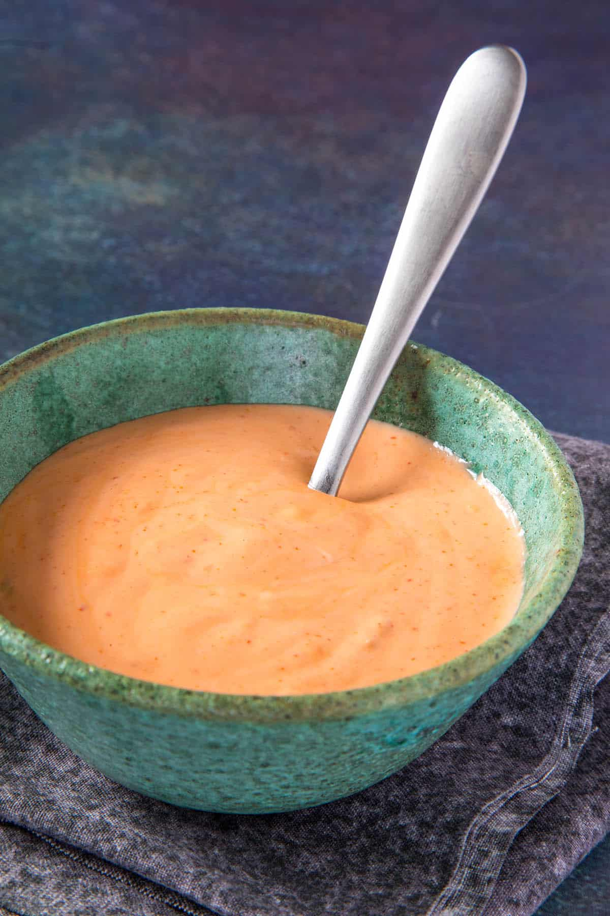 Sriracha Mayo in a bowl with a spoon