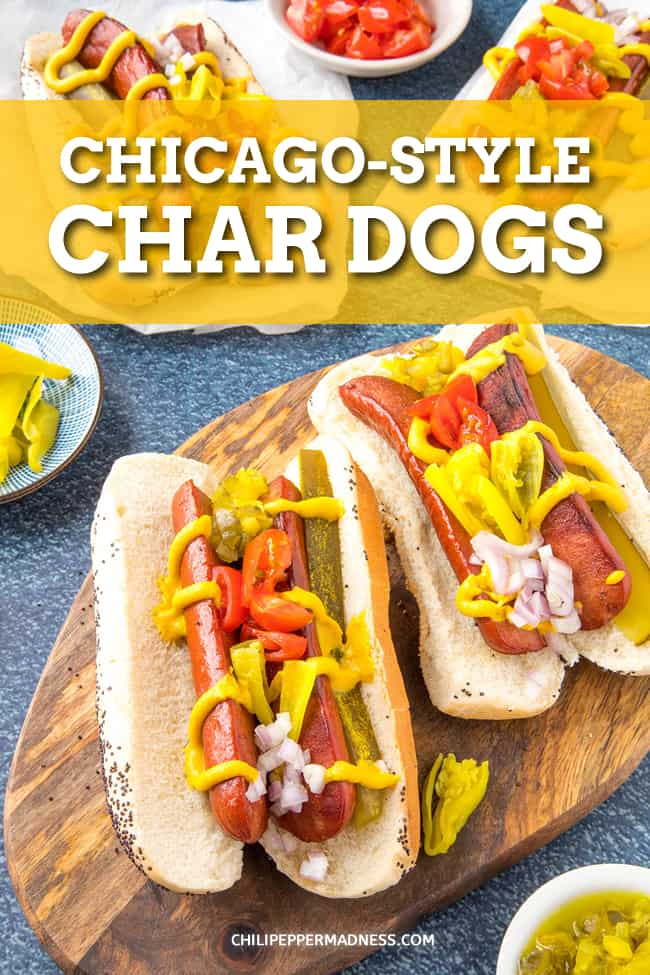 Chicago-Style Hot Dog Recipe - Get a true taste of Chicago with this Chicago-style hot dog recipe: char-grilled, all-beef hot dogs topped with mustard, relish, and sport peppers. It's a true classic. #ChicagoStyle #HotDogs #Grilling