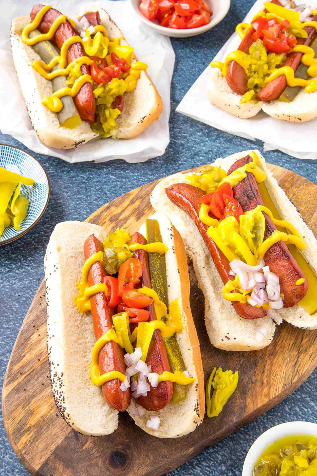 Chicago Style Hot Dogs with loads of mustard