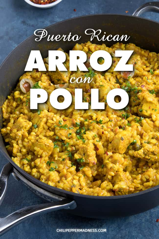 Puerto Rican Arroz con Pollo (Chicken and Rice) - This Puerto Rican arroz con pollo recipe is made with a sofrito base. It is loaded with flavor and can be served as either a side dish or the main course. #PuertoRicanFood #ChickenandRice #Dinner