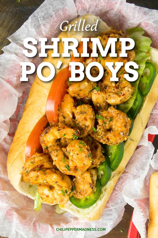 Grilled Shrimp Po' Boy Recipe - This lighter shrimp po' boy recipe is piled high with seasoned grilled shrimp served on crispy toasted French rolls, topped with creamy Cajun remoulade sauce. #Sandwich #Cajun #Shrimp