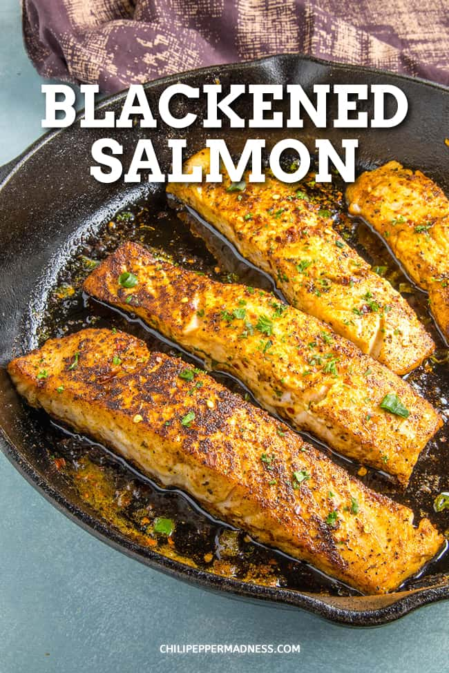 Blackened Salmon Recipe - This blackened salmon recipe brings the spice you crave. Loaded with Cajun flavor, it\'s crispy and moist and cooks up in only 5 minutes! #Salmon #Cajun #EasyDinner