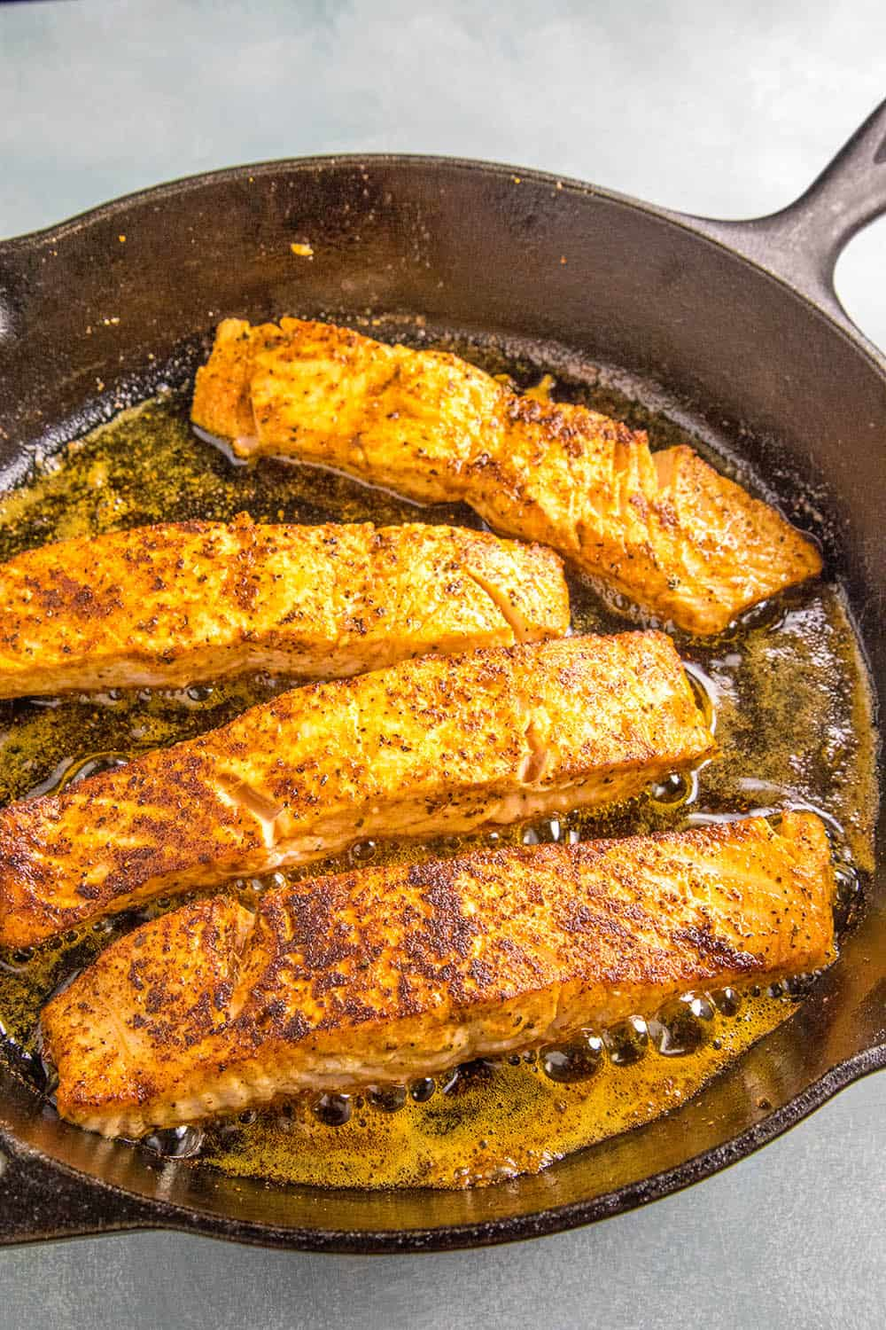 Searing the Blackened Salmon in a pan