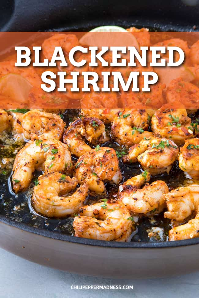 Blackened Shrimp - This blackened shrimp recipe is a spicy food lover's dream made with succulent shrimp seasoned with piquant blackening seasoning, then seared in butter. Cooks in only 5 minutes! #Shrimp #Dinner #Cajun