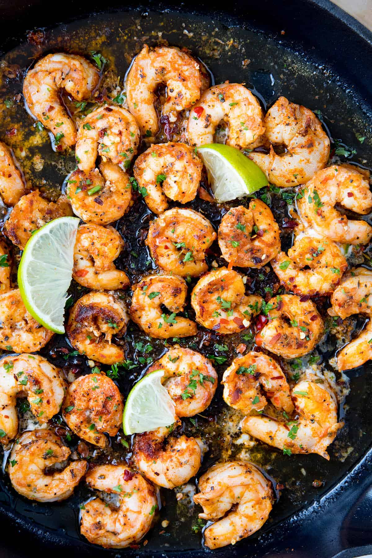 Blackened Shrimp in a pan