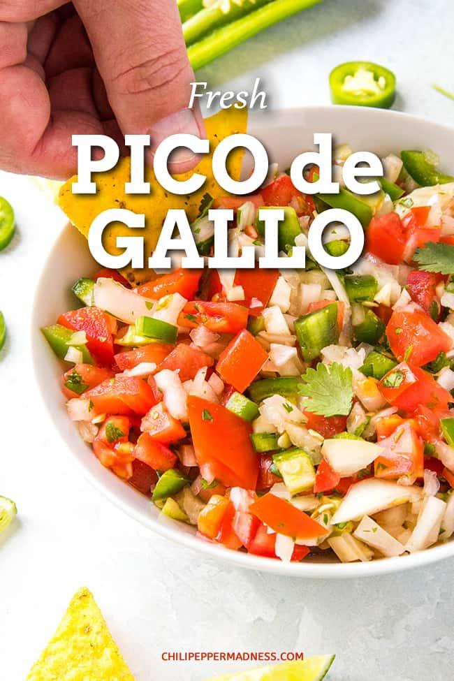 Fresh Pico de Gallo Recipe - The ultimate Mexican salsa, this Pico de Gallo recipe, or \'Rooster\'s Beak\' Salsa, is made with fresh tomato, jalapeno, onion, cilantro and lime juice. #MexicanFood #Salsa